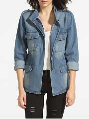 Flap-Pockets-Zips-Band-Collar-Denim-Jackets