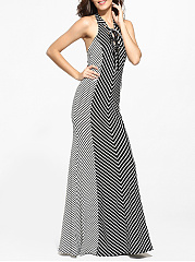 Cross Straps V Neck Dacron Printed Striped Maxi-dress