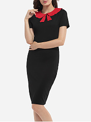Bow Collar Dacron Color Block Bodycon-dress