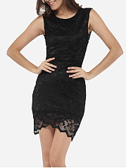 Round Neck Dacron Hollow Out Lace Plain Cocktail Dress