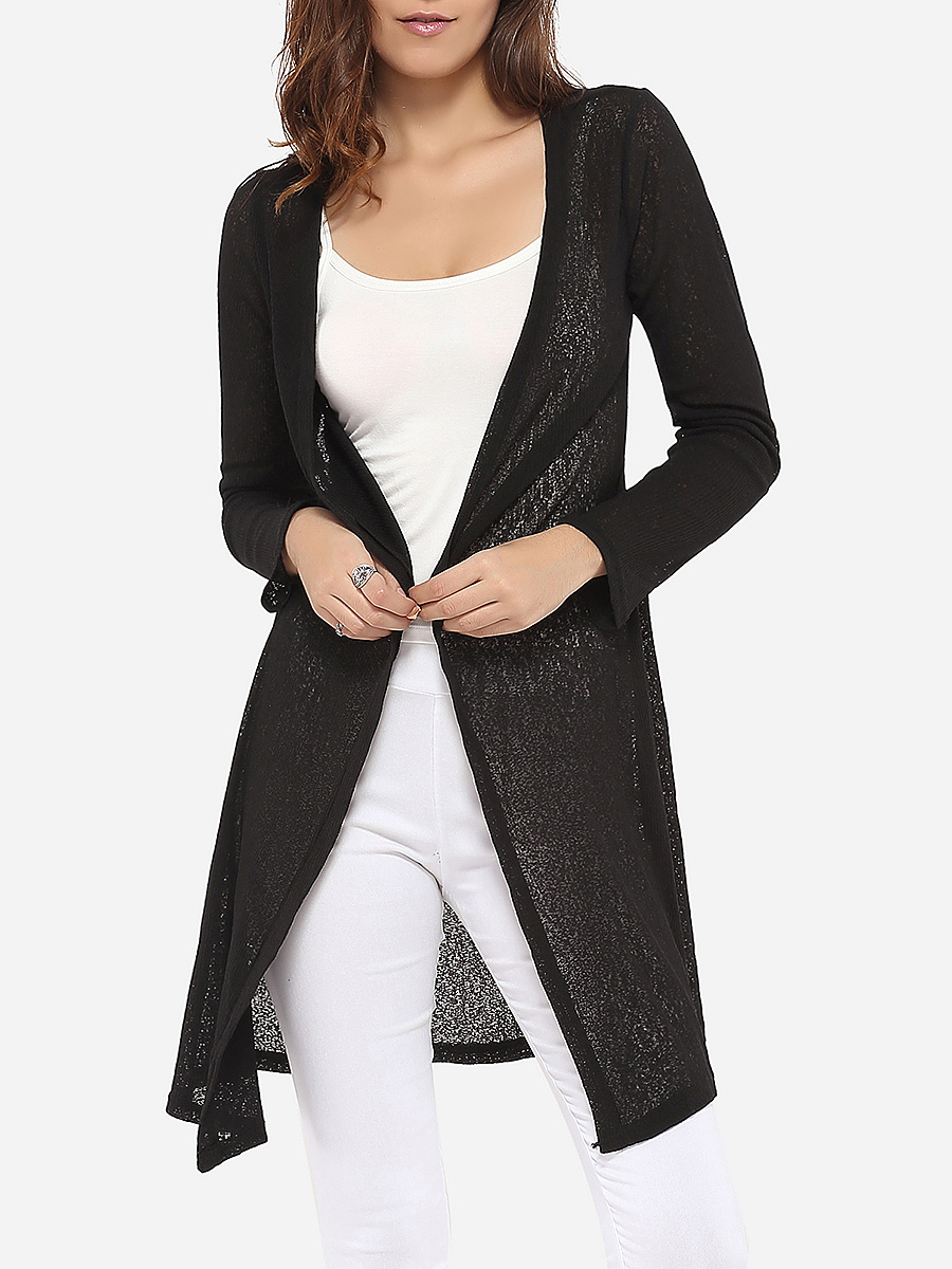Loose Fitting Collarless Knit Plain Cardigan