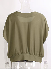 Cape Sleeve Round Neck Chiffon Plain Blouse