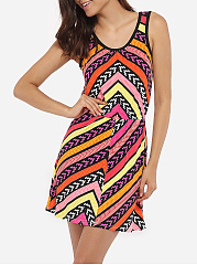 Round Neck Dacron Geometric Printed Skater Dress
