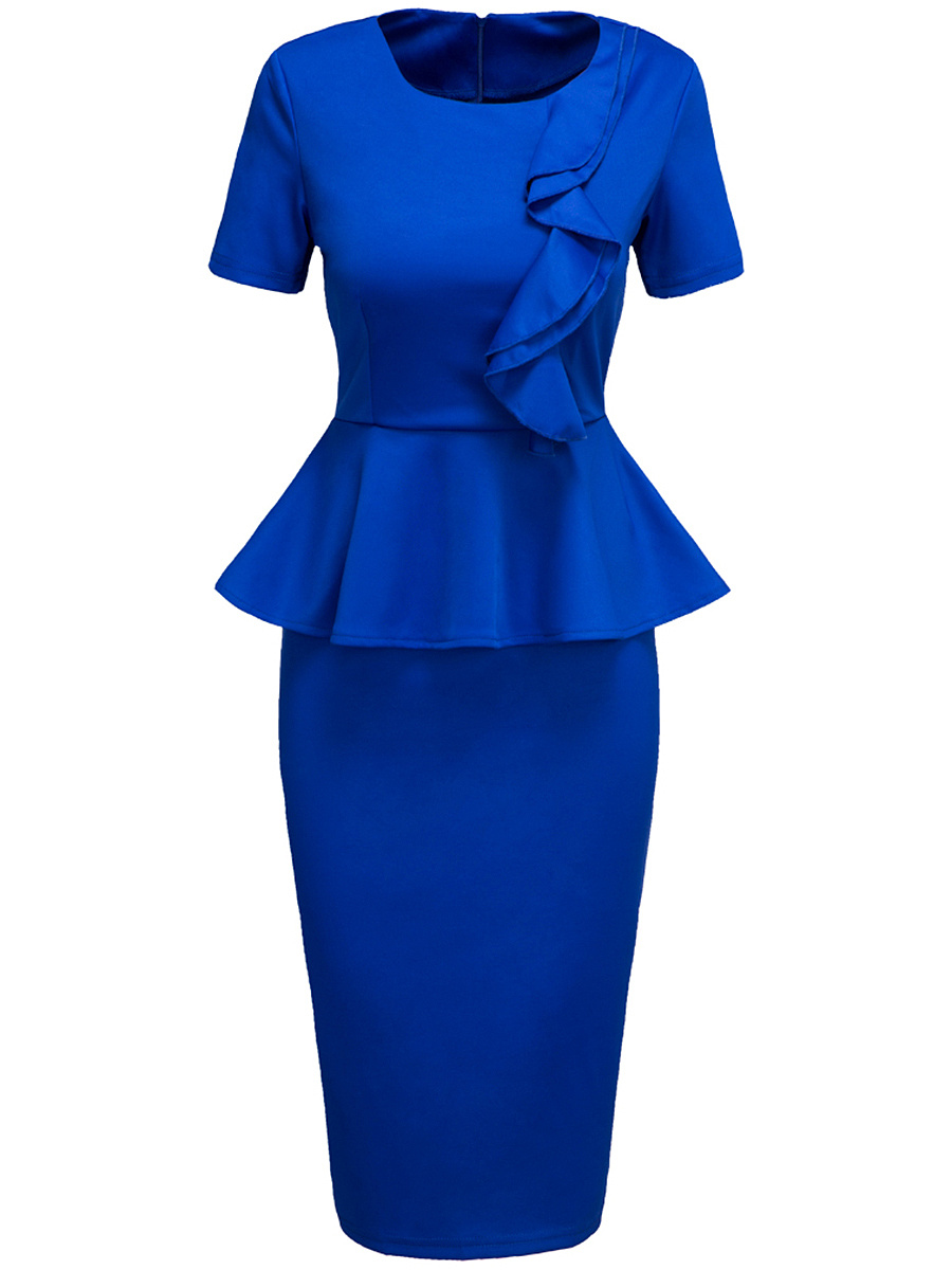 Summer Office Peplum Solid Flounce Bodycon Dress