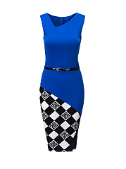 Asymmetric neckline Plaid Patchwork bodycon-dress