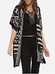 Batwing Loose Fitting Collarless Knit Color Block Geometric Printed Cardigan