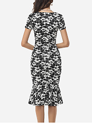 Assorted Colors Floral Printed Zips Elegant Asymmetric Neckline Bodycon-Dress