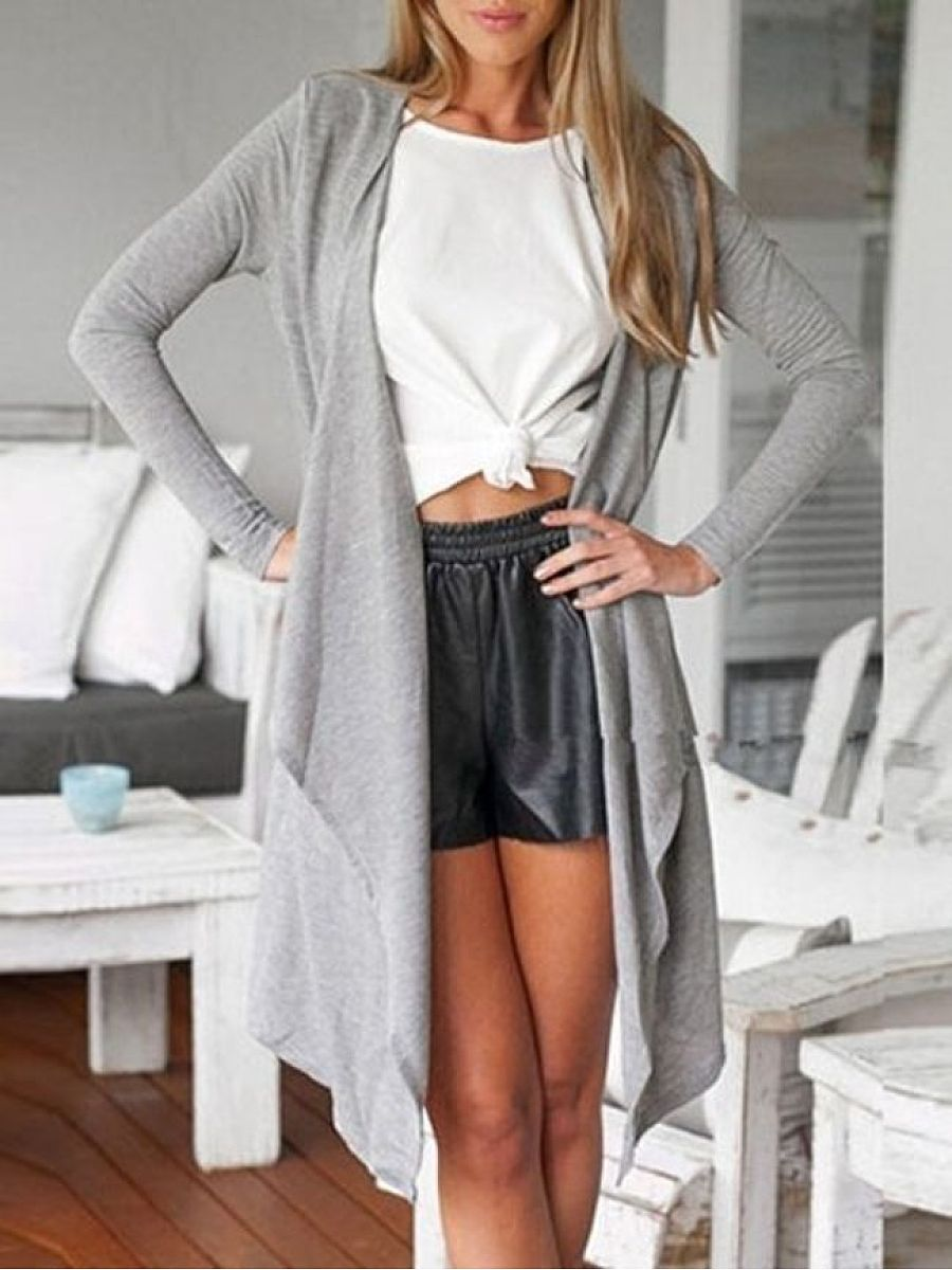 Plain Concise Casual Collarless Cardigan