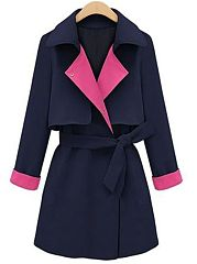 Trendy Colour Block Lapel Trench Coats