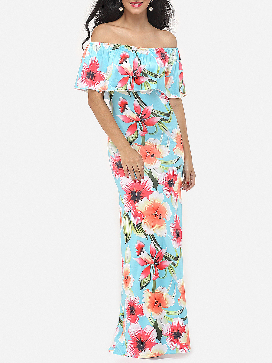 Printed Falbala Delightful Off Shoulder Maxi-dress