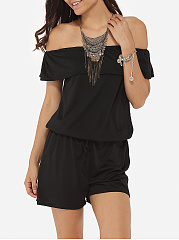 Falbala Loose Fitting Dacron Plain Rompers