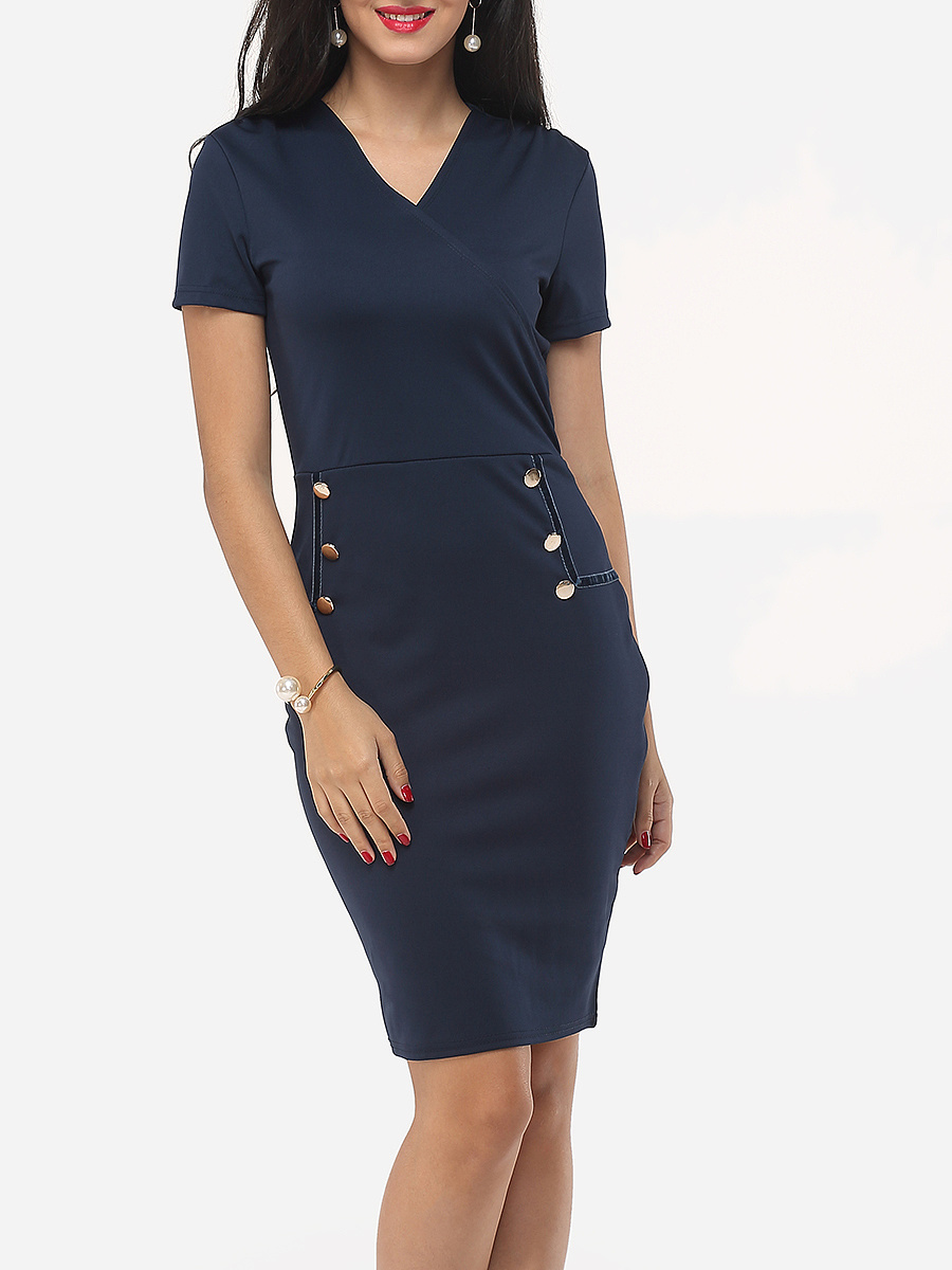 Decorative Buttons V Neck Dacron Plain Bodycon Dress