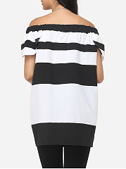 Assorted Colors Printed Striped Cape Sleeve Dramatic One Shoulder Short-sleeve-t-shirt
