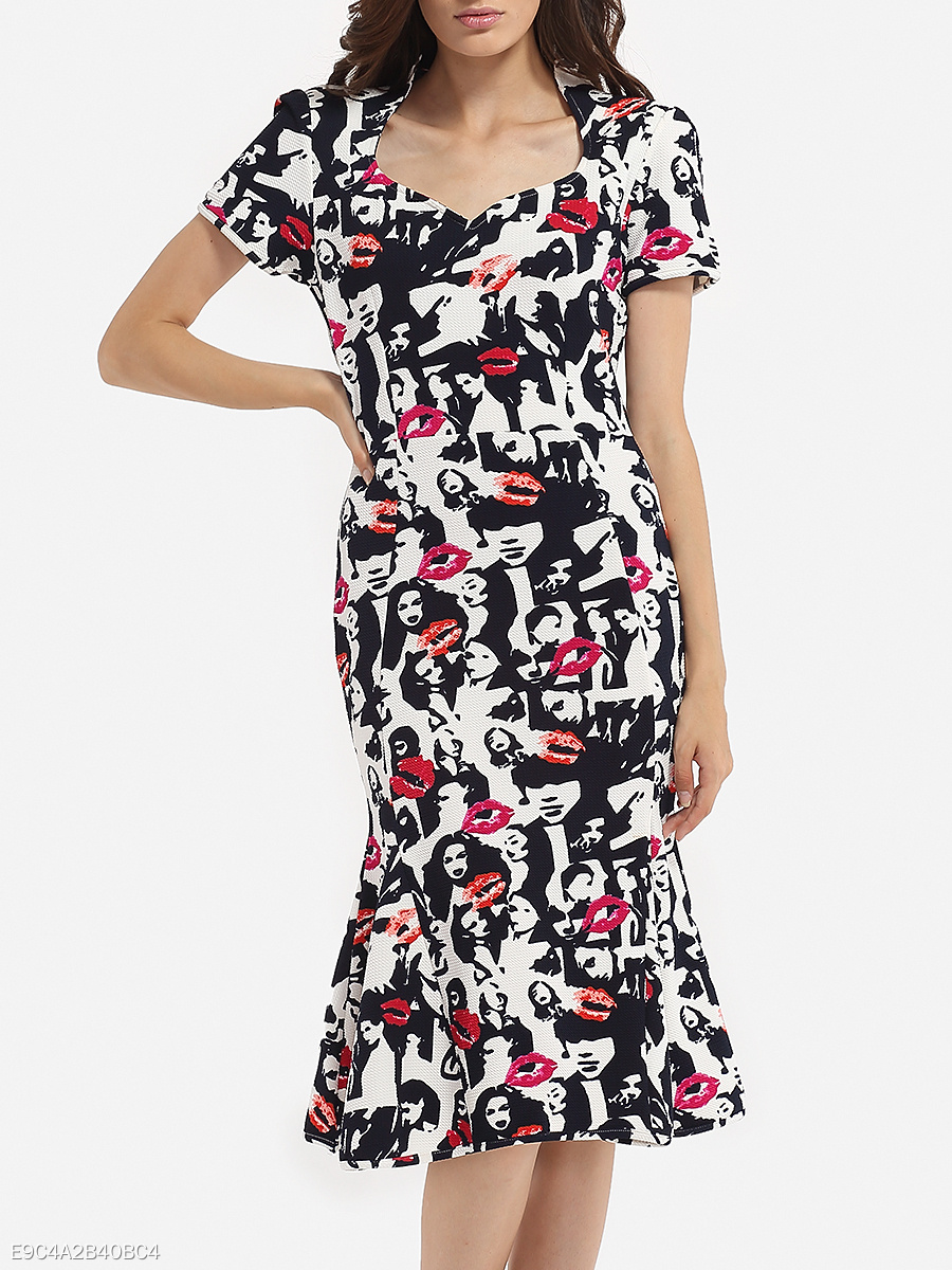 Sweet Heart Dacron Printed Bodycon-dress