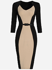Office Slit Belt Color Block Bodycon Dress