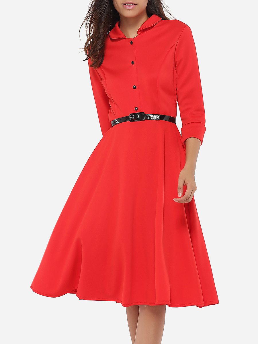 Button Down Collar Dacron Plain Skater-dress