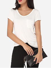 Plain Pockets Classical V Neck Short-sleeve-t-shirt