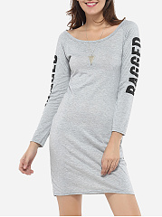 Boat Neck Dacron Hollow Out Letter Printed Bodycon-dress