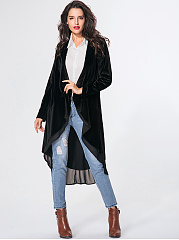 Collarless Plain Patchwork Flounce Coat