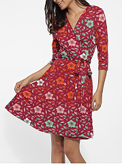 V Neck Dacron Floral Printed Shift-dress