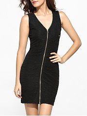 Zips V Neck Dacron Plain Bodycon-dress