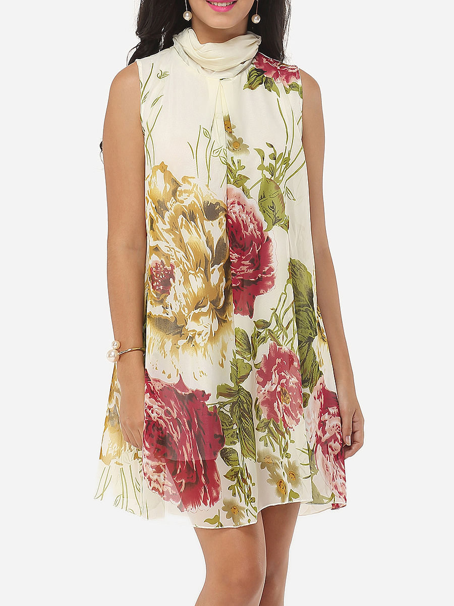 Floral Printed Designed Cowl Neck Shift-dress
