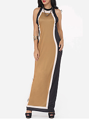 Assorted Colors Vintage Trendy Crew Neck Maxi Dress