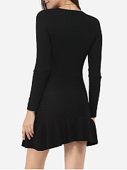 Falbala V Neck Cotton Plain Bodycon-dress