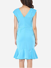 Plain Falbala Elegant Square Neck Bodycon-dress