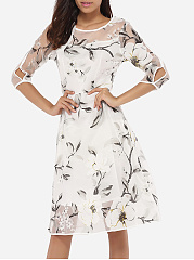 Round Neck Gauze Floral Hollow Out Skater-dress