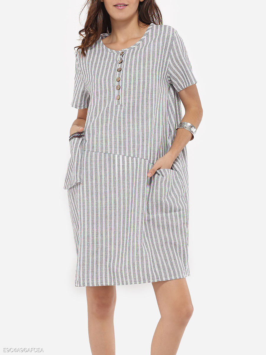 Loose Fitting Pockets Round Neck Linen Stripes Shift-dress