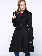 Black Classical Lapel  Double Breasted  Plain Woolen Coat