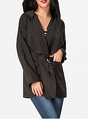 Hooded Roll-Up Sleeve Plain Drawstring Trench-Coat