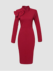 Plain Bowknot Glamorous High Neck Bodycon Dress