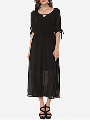 Hollow Out Plain Bowknot Captivating Round Neck Maxi-dress