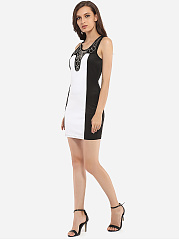 Beading Scoop Neck Dacron Color Block Bodycon Dress