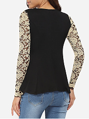 Round Neck Lace Hollow Out Lace Patchwork Long-Sleeve-T-Shirt