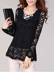 Autumn Spring  Lace  Women  Round Neck  Plain Long Sleeve T-Shirts