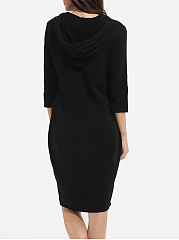 Pockets Hooded Cotton Plain Bodycon Dress