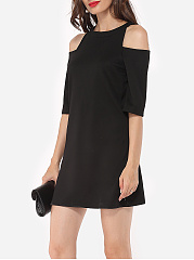 Hollow Out Plain Zips Chic Charming Round Neck Shift-dress