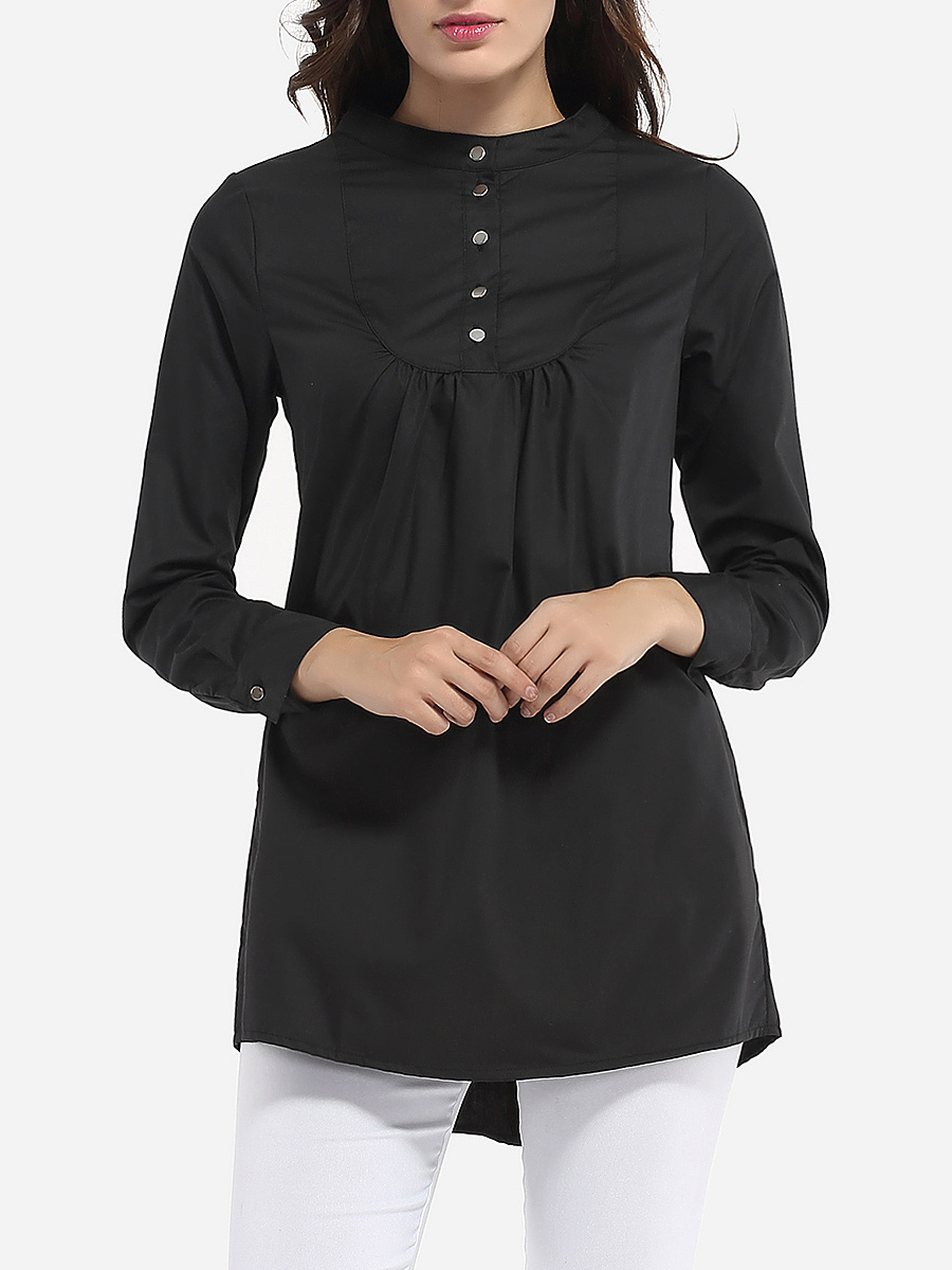 Single Breasted Band Collar Dacron Plain Blouse