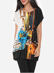 Summer  Polyester  Women  Round Neck  Printed Tie/Dye Short Sleeve T-Shirts