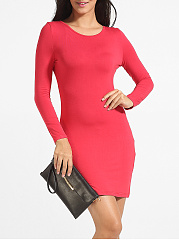 Cross Straps Round Neck Cotton Hollow Out Plain Bodycon-dress