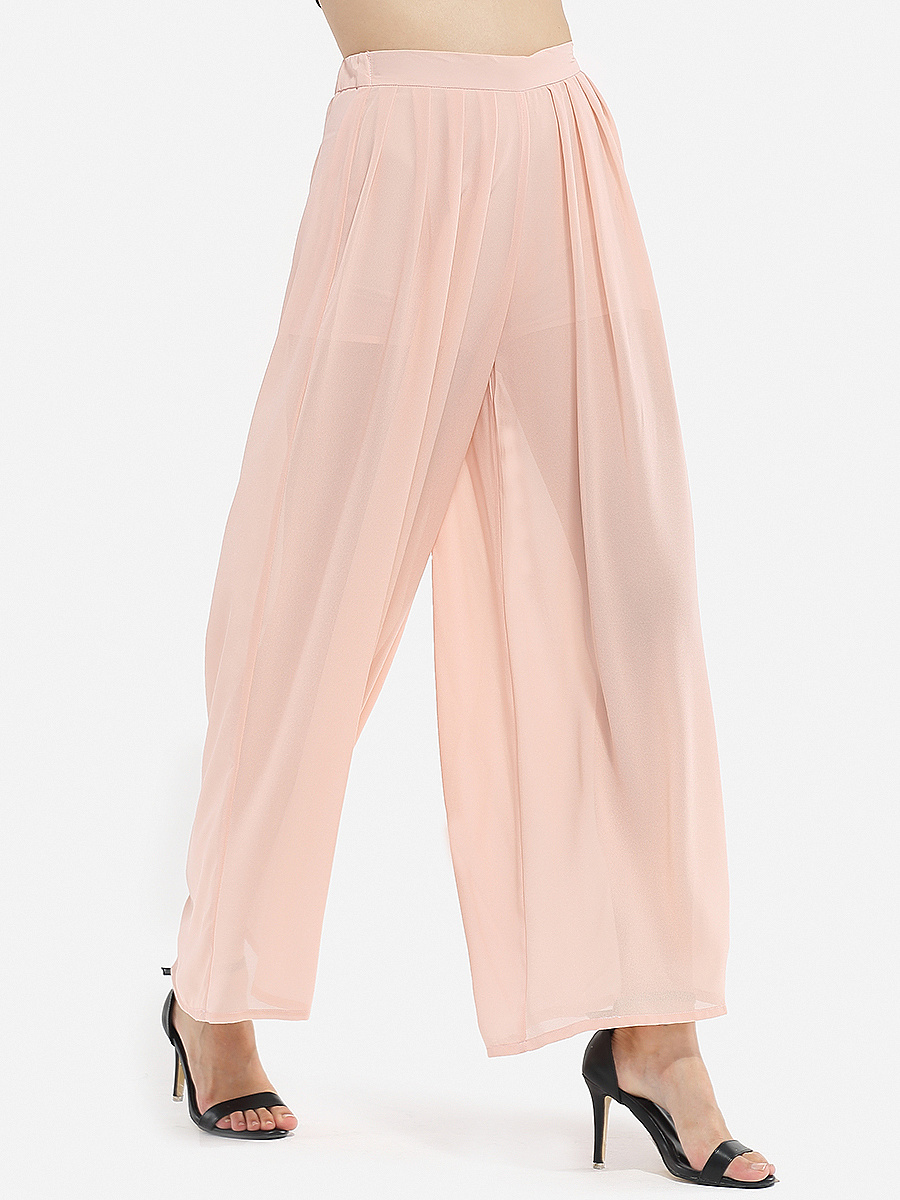 Hollow Out Plain Wide-Leg Casual Pant