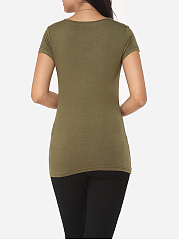 Plain Exquisite V Neck Short-sleeve-t-shirt