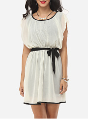 Bowknot Falbala Celebrity Round Neck Skater-Dress