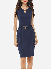 Plain Split Decorative Buttons Chic Round Neck Bodycon-dress