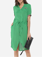 Pockets Asymmetrical Hems V Neck Chiffon Split Shift-dress