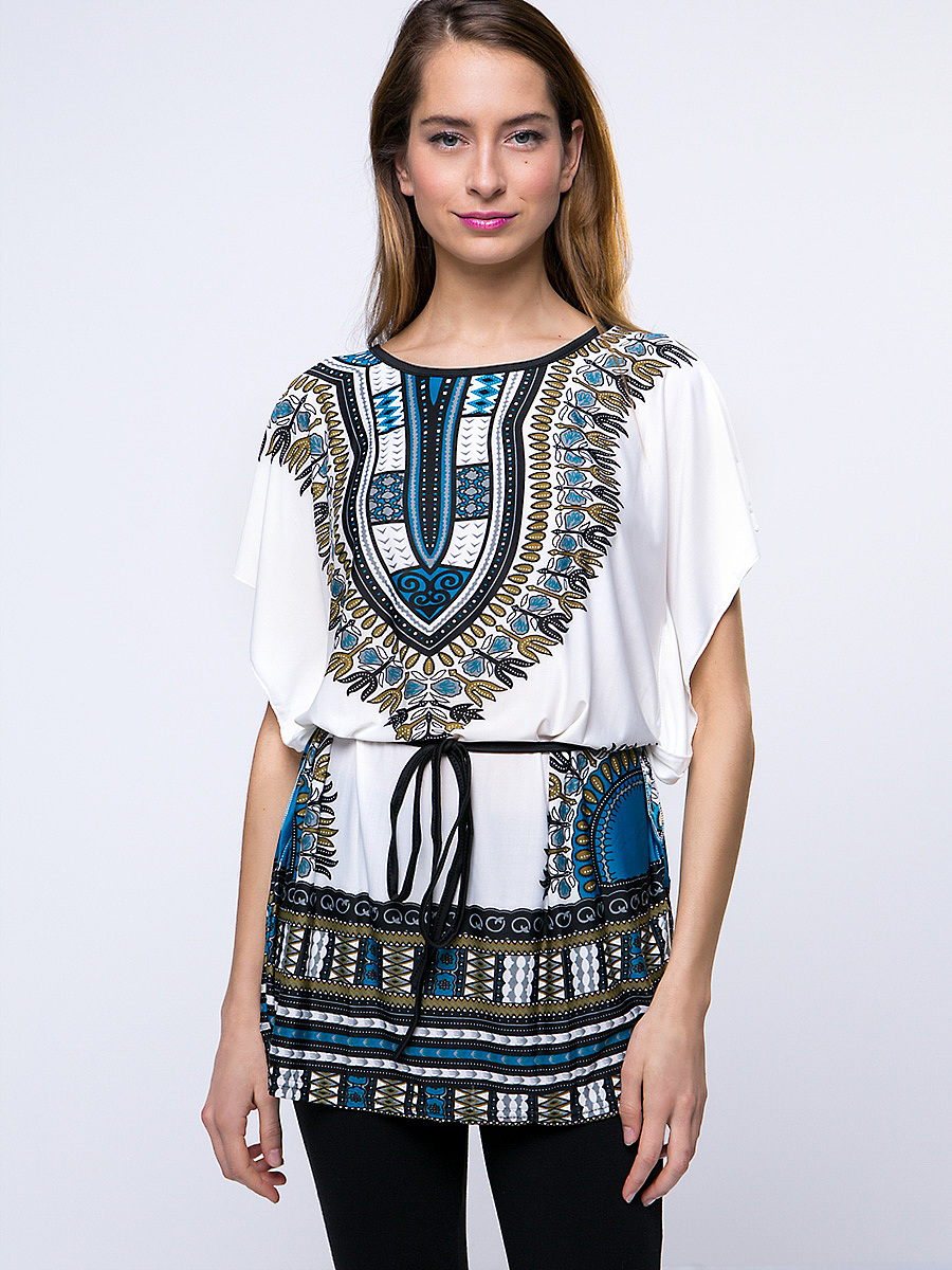 Round Neck Tribal Printed Casual Short Sleeve T-Shirt
