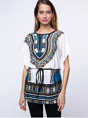 Summer  Polyester  Women  Round Neck  Belt  Tribal Printed  Short Sleeve Short Sleeve T-Shirts